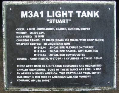 M3A1 Light Tank Marker image. Click for full size.