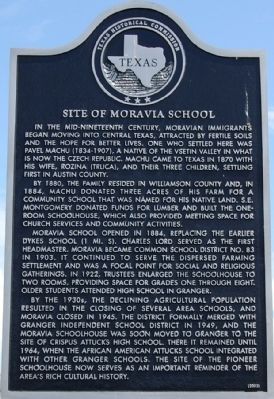 Site of Moravia School Marker image. Click for full size.