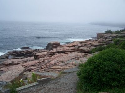 Rugged coast line of Mount Desert Island with fog. image. Click for full size.