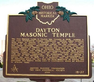 Dayton Masonic Temple Marker (Side A) image. Click for full size.