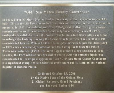 """Old"" San Mateo County Courthouse Marker image. Click for full size."