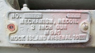 3 Inch Gun M9A1 Mechanism Plate image. Click for full size.
