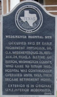 Wedemeyer Hospital Site Marker image. Click for full size.