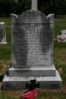 In Honor of Stand Watie, UDC Memorial Plaque image. Click for full size.
