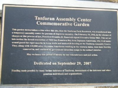 Tanforan Assembly Center Commemorative Garden Marker image. Click for full size.