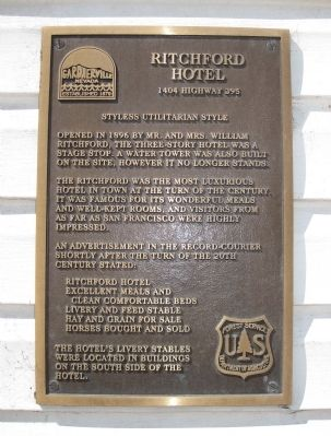 Ritchford Hotel Marker image. Click for full size.