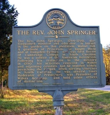 The Rev. John Springer Marker image. Click for full size.