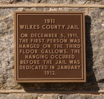 1911 Wilkes County Jail Marker image. Click for full size.