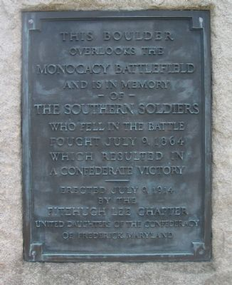 This Boulder Overlooks the Monocacy Battlefield Marker image. Click for full size.