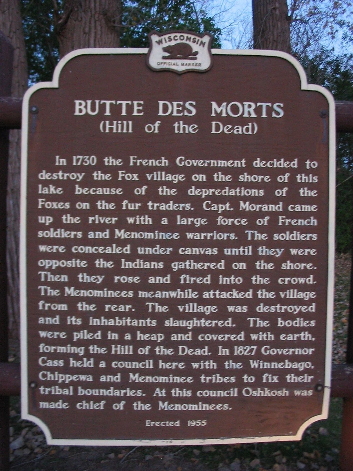 Butte des Morts Marker