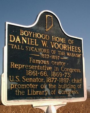 Boyhood Home of Daniel W. Voorhees Marker image. Click for full size.