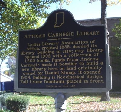 Andrew Carnegie gave $10,000 for the Attica Library. image. Click for full size.