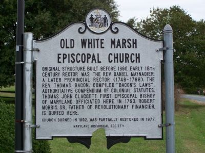Old White Marsh Episcopal Church Marker image. Click for full size.