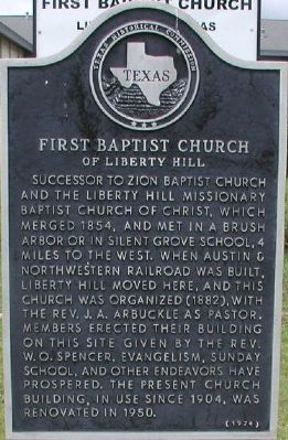 First Baptist Church of Liberty Hill Marker image. Click for full size.