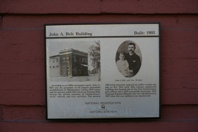 John A. Belt Building Marker image. Click for full size.