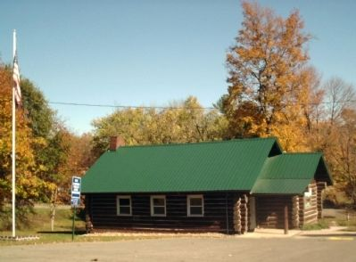 """Scout Cabin"" in Hub Park — Veedersburg, Indiana. image. Click for full size."