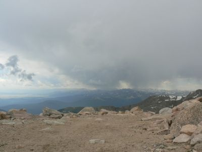 View from Mt. Evans peak, near Observatory image. Click for full size.