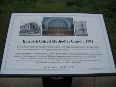 Epworth United Methodist Church, 1894 Marker image. Click for full size.