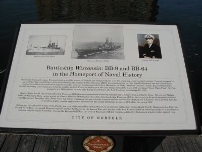 Battleship <i>Wisconsin</i>:BB-9 and BB-64 in the Homeport of Naval History Marker image. Click for full size.