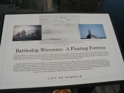 Battleship <i>Wisconsin</i>: A Floating Fortress Marker image. Click for full size.