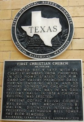 First Christian Church of Taylor Marker image. Click for full size.