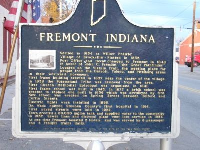 Fremont Indiana Marker image. Click for full size.