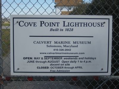 Cove Point Lighthouse Sign image. Click for full size.