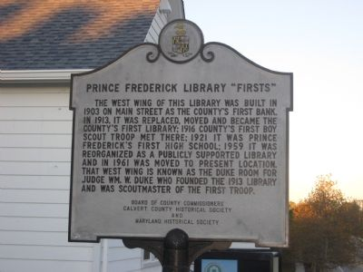 "Prince Frederick Library ""Firsts"" Marker image. Click for full size."