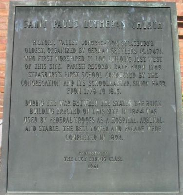 Saint Paul's Lutheran Church Marker image. Click for full size.