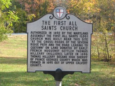 The First All Saints Church Marker image. Click for full size.