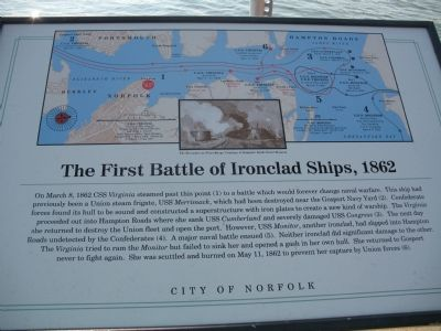 The First Battle of Ironclad Ships, 1862 Marker image. Click for full size.