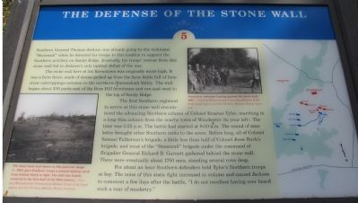 The Defense of the Stone Wall Marker image. Click for full size.