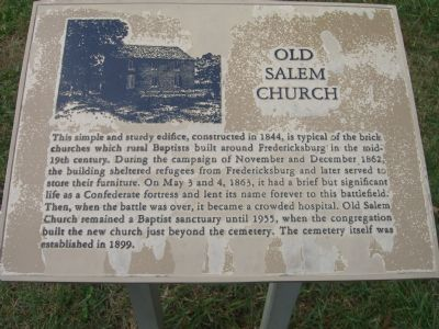 Old Salem Church Marker image. Click for full size.