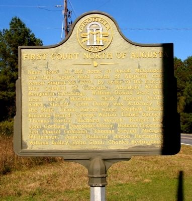 First Court North of Augusta Marker image. Click for full size.