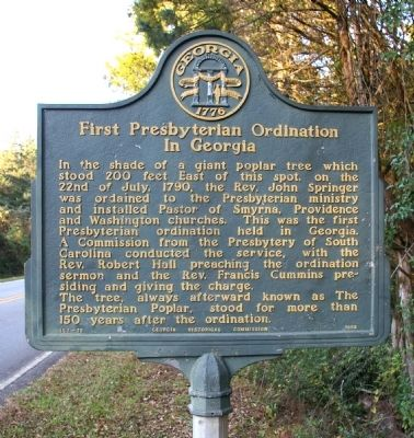 First Presbyterian Ordination in Georgia Marker image. Click for full size.