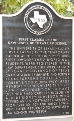 First Classes of the University of Texas Law School Marker image. Click for full size.