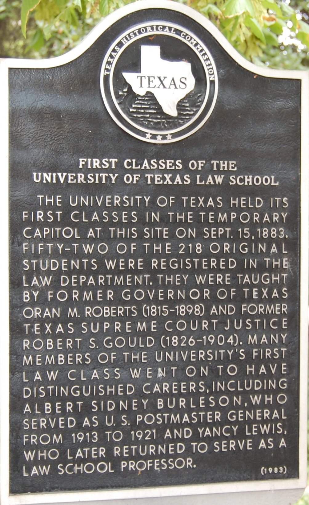 First Classes of the University of Texas Law School Marker