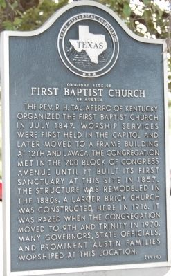 Original Site of First Baptist Church of Austin Marker image. Click for full size.
