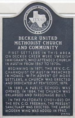 Decker United Methodist Church and Community Marker image. Click for full size.