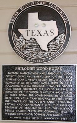 Philquist-Wood House Marker image. Click for full size.