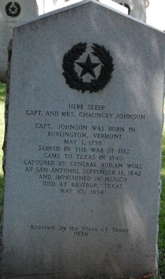 Capt. & Mrs. Chauncey Johnson Marker image. Click for full size.