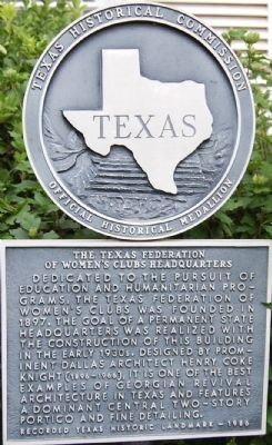 The Texas Federation of Women's Clubs Headquarters Marker image. Click for full size.