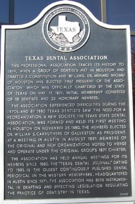 Texas Dental Association Marker image. Click for full size.
