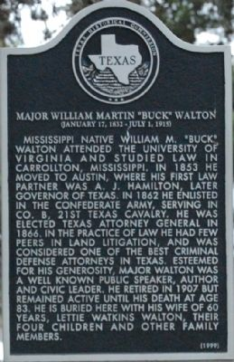 "Major William Martin ""Buck"" Walton Marker image. Click for full size."