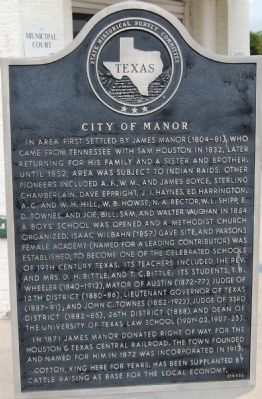 City of Manor Marker image. Click for full size.