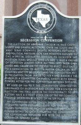Texas and the Civil War Secession Convention Marker image. Click for full size.