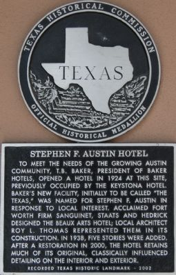 Stephen F. Austin Hotel Marker image. Click for full size.
