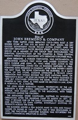 Site of John Bremond & Company Marker image. Click for full size.