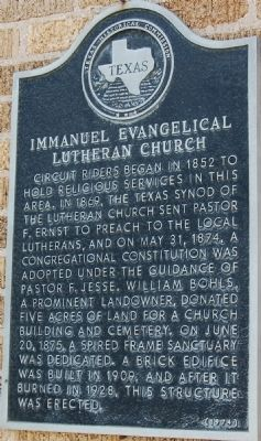 Immanuel Evangelical Lutheran Church Marker image. Click for full size.