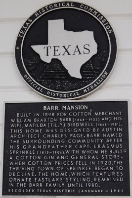 Barr Mansion Marker image. Click for full size.